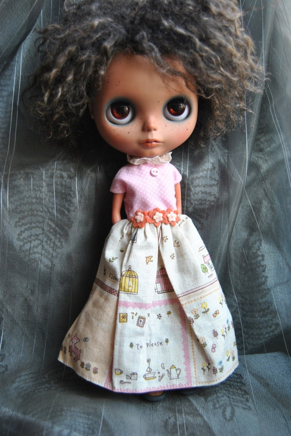 Handmade ooak Dress for blythe or simmilar dolls