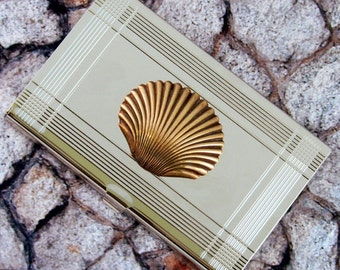 Seashell  Business Card Case , Scallop, Clam, Metal Card Holder Wallet