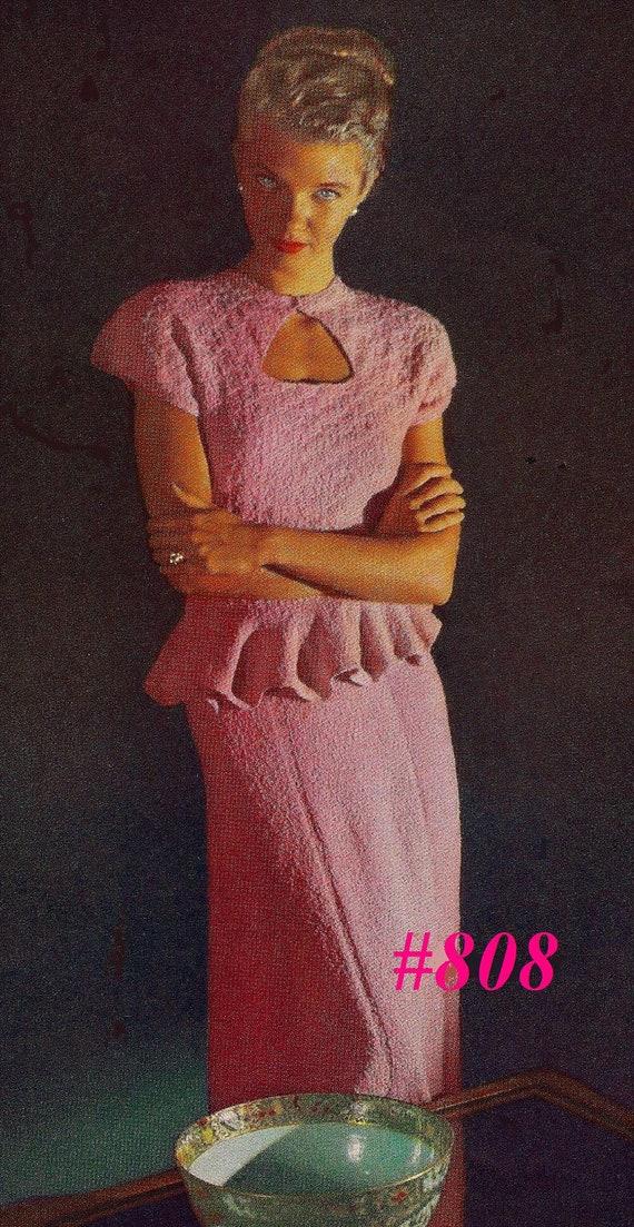 A BEST Vintage 1948 Two Piece Dinner Dress with Petalled Peplum 808 PDF Digital Knit Pattern