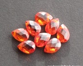 """Orange / Red """"Fire Opal"""" CZ 5x7mm Briolette Faceted Flat Pears, Top Drill Beads - (8 pieces)"""