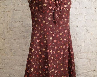 Grunge Dress - 80s/90s Brown Floral