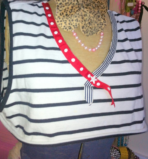 Red White Blue PIN UP Blue and White Nautical Red White Blue striped Shirt Red polka dot bow Blue stripped Collar White star Sz Medium