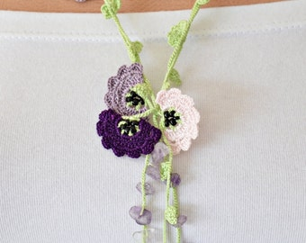 Oya Beaded Lariat Necklace, Boho Crocheted Necklace, Purple Lavender Pink Crochet Flowers, Beaded Accessories, Jewellery Beadwork, ReddApple