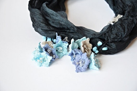 Silk Wrap Scarf, Flower Skinny Scarf, Boho Crochet Necklace, Oya Beaded Necklace, Gray Wrinkled Silk Necklace, Blue Gray Flowers, ReddApple,