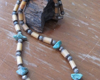 Vintage Rough Turquoise, Bone and Silver Rose Bead Necklace