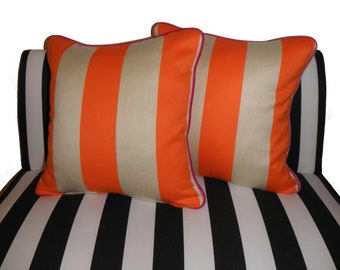 Orange Striped Pillow Cover with Pink Piping 18x18
