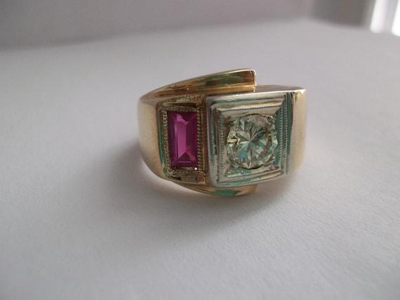 RESERVED Page Art Deco Half CARAT Diamond &14kt Ring/ 1940's Diamond Ring/ Deco Jewelry/  Diamond Ring/ Vintage Diamond Ring/ Men's Rings