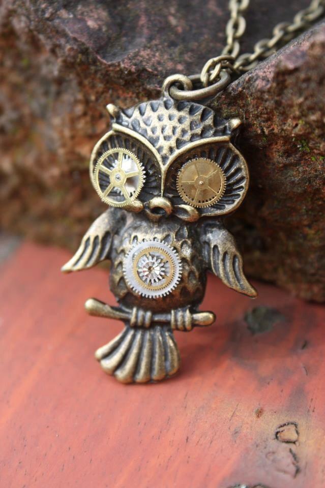 Mechanical Steampunk Cogular Owl Necklace steampunk buy now online
