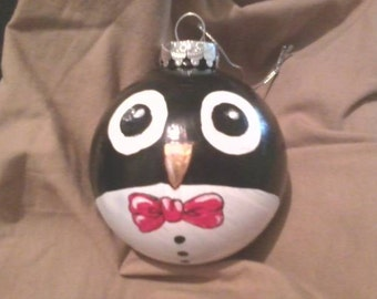 Penguin Christmas Winter Hand Painted Ornament