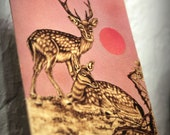 "Deer, peaceful, Leaf-burned, Pyrography, 8""x10"""