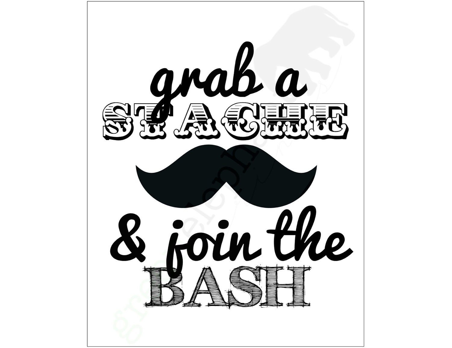 5x7 Little Man Mustache Bash Birthday Party or Baby Shower