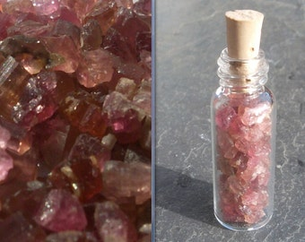 PINK Rubellite Tourmaline crystals in a Glass bottle with Natural cork top