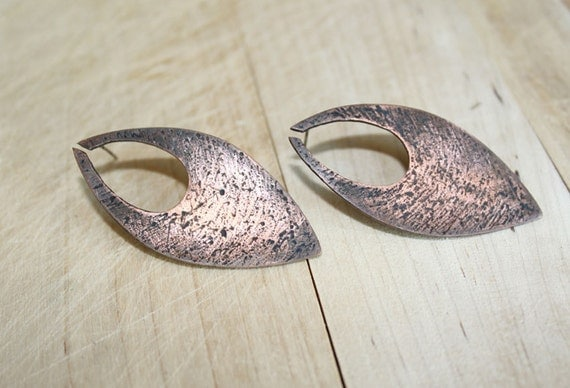 Handmade Copper or Sterling silver Earrings-Drop Copper Earrings-Oxidized Copper