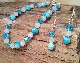 Swarovski Aqua Blue and White Crystal Beaded Bracelet and Earrings