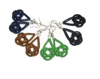 Knot earrings, Celtic knot earrings, Knot dangle earrings, Macrame, Cord earrings, Silver plated, Sailor knot earrings, Gift for Her