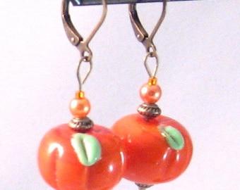 Pumpkin Lampwork Glass, Orange Pearl & Antiqued Brass Earrings, Orange Jewelry, Halloween, Fall Fashion, Fall Jewelry, Autumn, Pumpkins