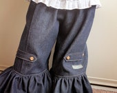 Ruffle Jeans- Toddler Girls Wide Leg Pants