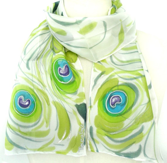Hand Painted Silk Scarf. Lime, Laurel Green Silk Scarf. Green Blue Scarf. Women Scarf. Peacock Scarf. 8x54 in. (20x137cm). Ready to Ship.