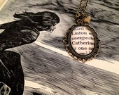 Catherine and Linton Wuthering Heights Emily Bronte Antique Bronze Book Page Literature Necklace