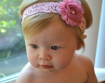 Baby headband, Pink flower, Pink lace, Infant Headbands - Baby Girl Headbands - Baby Hair Accessories - Newborn Headbands