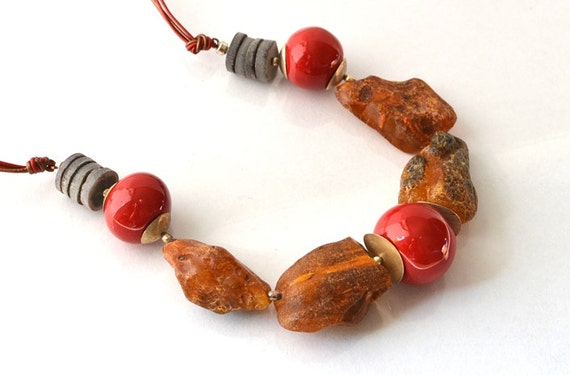 Elegant Amber Jewelry Natural Amber Necklace, Brown Amber Red Ceramic Gray Shell, Genuine Amber