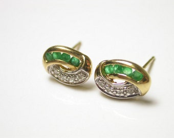 Vintage Emerald Earrings - 14k Yellow Gold Diamond and Emerald Post Back Earrings - Weight 1.1 Grams - May and April Birthstone - Green # 58