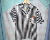 lrg nautical navy blue striped top with embroidered symbol 80s vintage