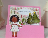 Happy Holly Days handmade Christmas greeting card pink featuring a little black girl holding holly
