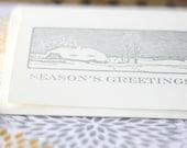 Letterpress card Season's Greetings snow scene silver holiday christmas card woodcut card