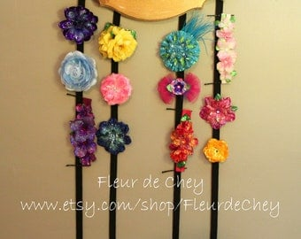 Glittered Floral Personalized Hair Accessory Holder- Handmade Floral Headpiece Holder