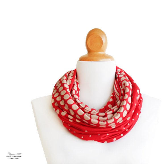 Red lnfinity Scarf - retro infinity scarf with dot pattern - women scarves - CG