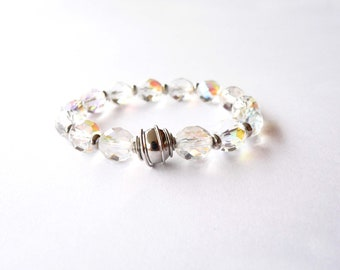 Crystal bracelet handmade with crystal transparent beads and metal bead. ooak made in Italy