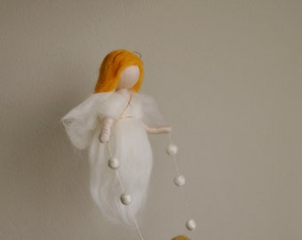 Waldorf inspired needle felted baby mobile: Guardian Angel with Girl or Boy ( made to order)