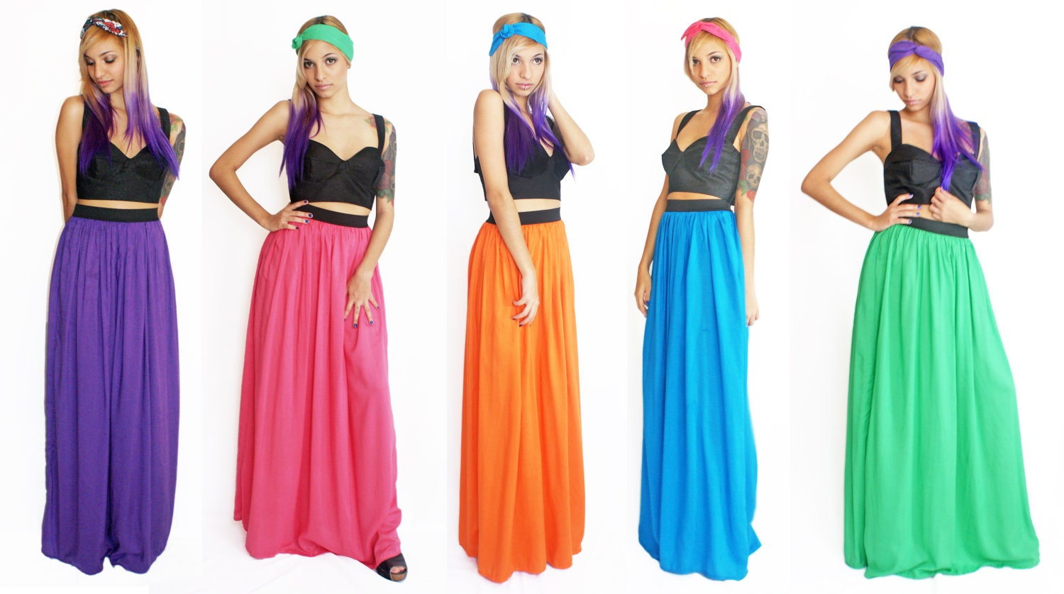 maxi skirt bright color rayon made to order by