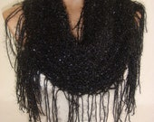 Hand Knitted Glowing Black Shawl, Scarf by Arzu's Style