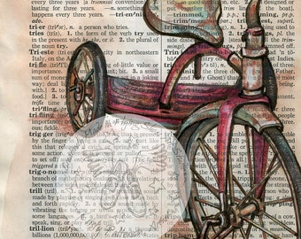 PRINT:  Tricycle Mixed Media Drawing on Distressed, Dictionary Page