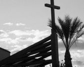 Reserved for Enchanted Glass-Church with Rustic Copper Cross-B (black and white), Chandler, Arizona Photograph (8x10- not matted)