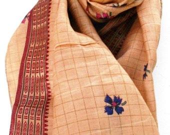 Long Tan Silk Scarf, Beige Scarf, Woven Scarf, Indian Scarf, Silk Sari Scarf, Floral Scarf, Tan Tribal Scarf, Brown Beige