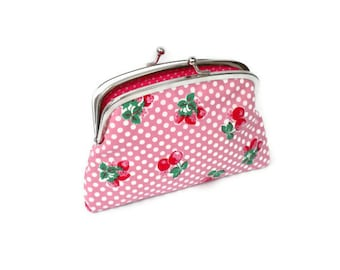 Pink polka dot kiss lock wallet with cute strawberry and cherry design - two section coin purse