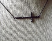 Sideways Cross  Necklace Black Rhinestones Inspired by Jennifer lopez-Taylor Jacobson