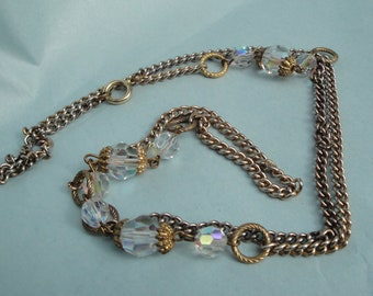 Vintage necklace or bracelet Crystal AB gold tone unsigned 1960s long 30 inches Mad Men or Astronaut Wives fashion