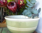 Antique Mixing Bowl - Pea Green and White Stripes- Easter Baking Delight