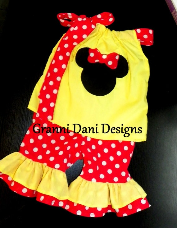 Minnie mouse capri outfit set 0 3 6 9 12 18 24 months 2t 3t 4t 5t red  yellow baby toddler girl disneyland disney world vacation