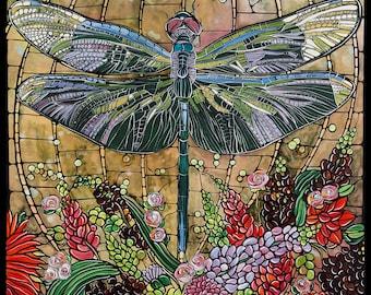 Green Dragonfly Art Nouveau, Original Paper Fine Art Print, Colorful Home Decor, 11x17 Dragonfly Gifts, Poster, Illustration, Artwork
