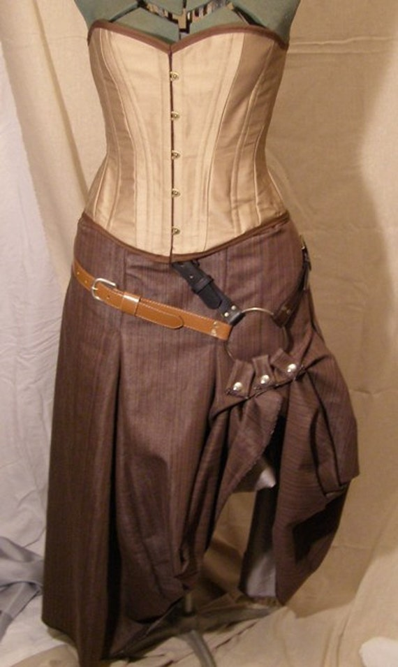 Steampunk Belted Box Pleat Skirt