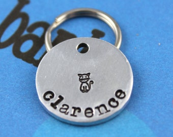 SMALL Cat Tag - Aluminum Customized Pet Tag - Hand-Stamped Personalized Cat ID Tag - Other Metals Available