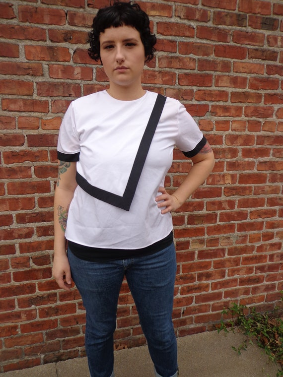 1980s White Blouse with Black Details, Plus Size, 42 Inch Bust