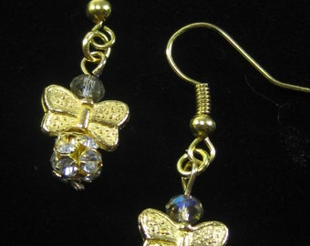 Butterfly Sparkle Earrings, gold butterfly charms and gold crystal ball beads sparkle on these dangle wire earrings