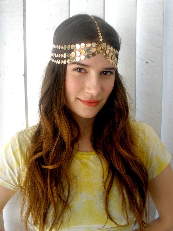 THE HARLOW- Seven Strand Gold Coin Headpiece