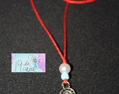 Antique Silver Tiny Hamsa Hand Red Cord Necklace